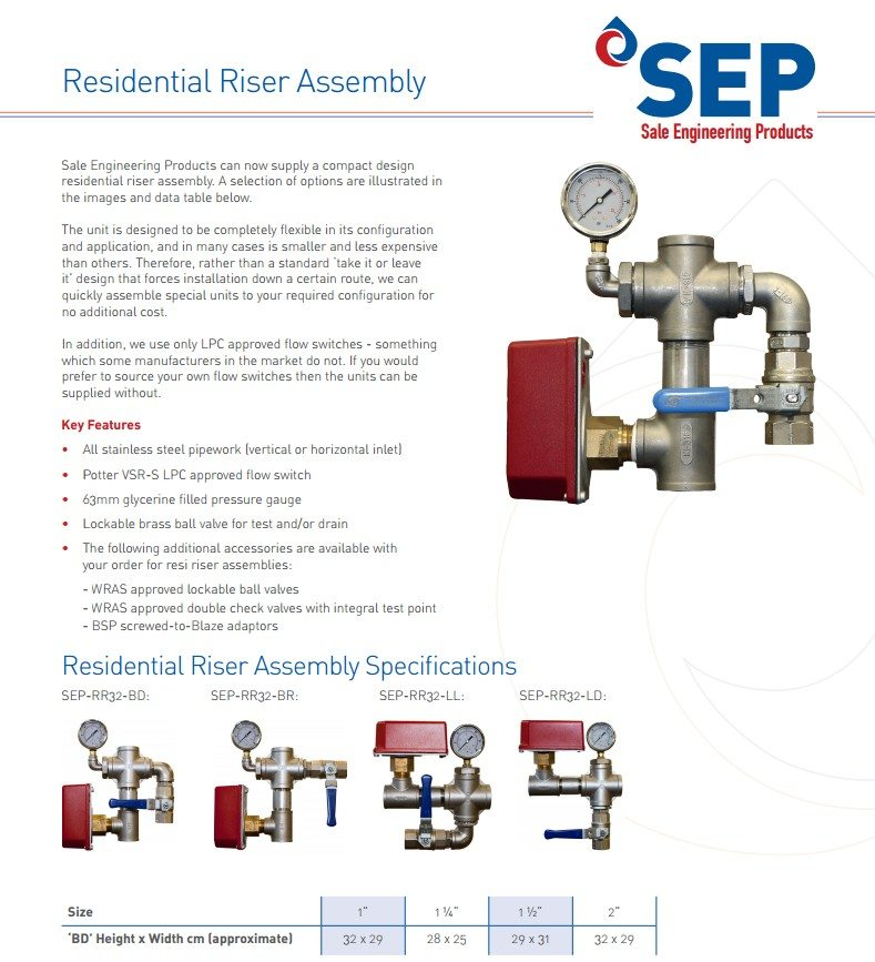 Residential Risers/Valve Sets | Sale Engineering Products Ltd